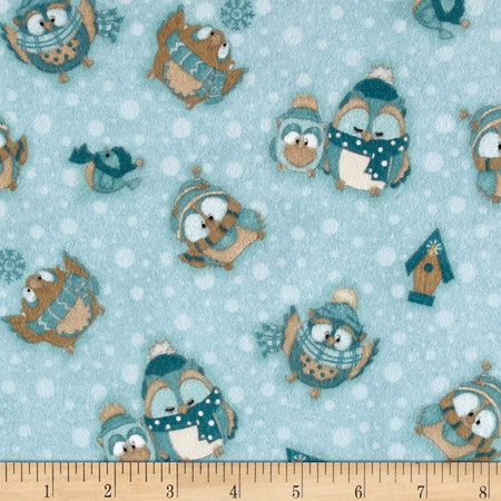 Wise One Flannel Tossed Owl Blue Fabric