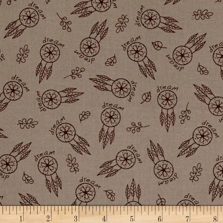 Woodland Gypsy Feathers Tan Fabric By The Yard