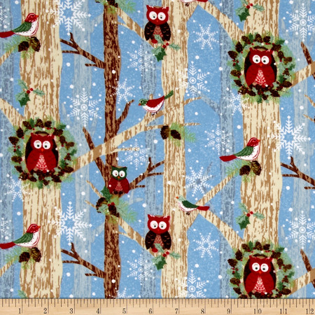 Woodland Noel Flannel Owls Light Blue Fabric By The Yard