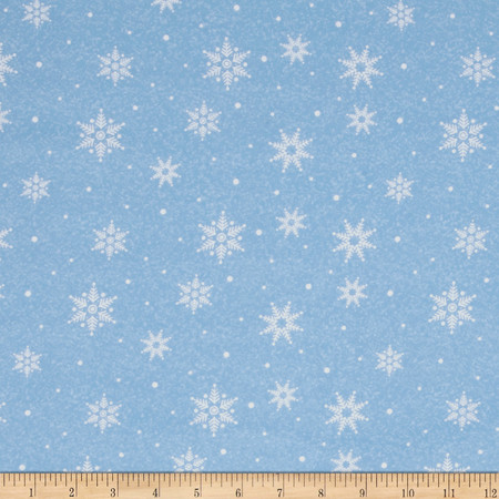 Woodland Noel Flannel Snowflake Light Blue Fabric By The Yard
