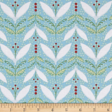 Woodsy Small Pictorial Stripe Light Teal Fabric