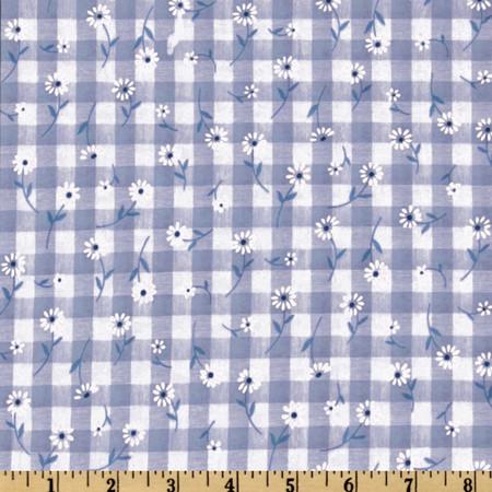 Woven 1/4'' Daisy Gingham Blue Fabric