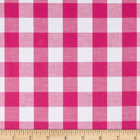 Woven Cotton Plaid Pink/White Fabric