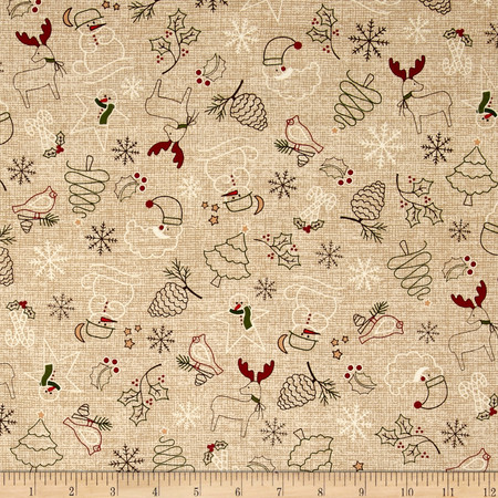 Wrapped In Joy Collage Beige Fabric By The Yard