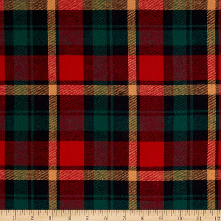 Yarn Dyed Flannel Plaid Wine/Hunter Fabric By The Yard