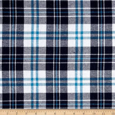 Yarn Dyed Plaid Flannel Navy/Blue/White Fabric By The Yard