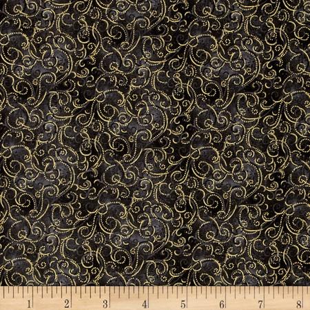Yuletide Magic Swirls Gray Fabric By The Yard