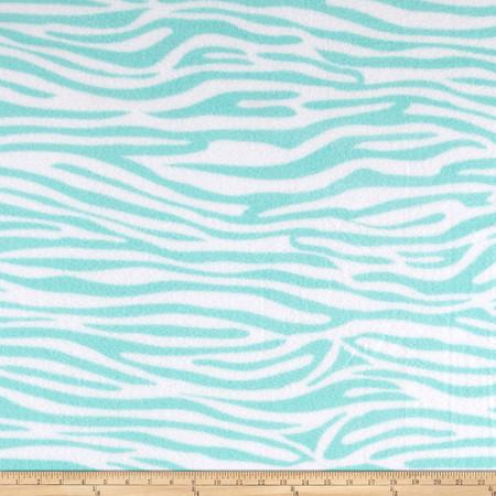 Zebra and Giraffe Zebra Fleece Aqua Fabric By The Yard