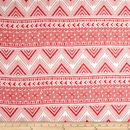 Zig-Stardust Rayon Challis Coral/Ivory Fabric By The Yard