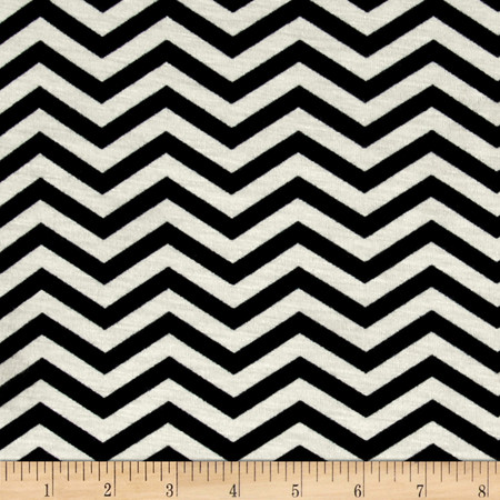 Zig Zag Jersey Knit Print Ivory/Black Fabric By The Yard