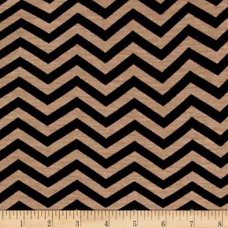 Zig Zag Jersey Knit Print Taupe/Black Fabric By The Yard