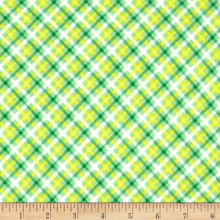 Zoo Mates Flannel Plaid Green Fabric By The Yard