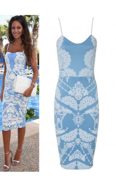 Celeb Style Bodycon Dress In Blue