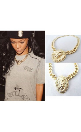 Gold Lion Head Curb Chain Necklace