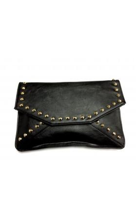 Celebrity Style Studded Envelope Clutch Bag In Black