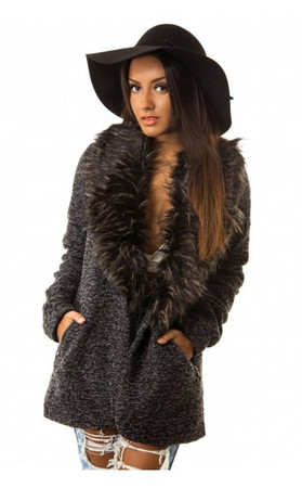 Faux Fur Trimmed Pea Coat