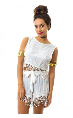 Lace Trim Boxy Top & Shorts In White