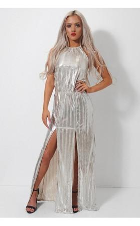 Nia Champagne Split Front Maxi Dress