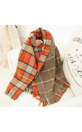 Oversized Orange Tartan Scarf