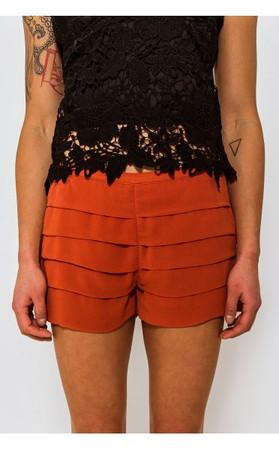 Renee Chiffon Pleat Rust Shorts