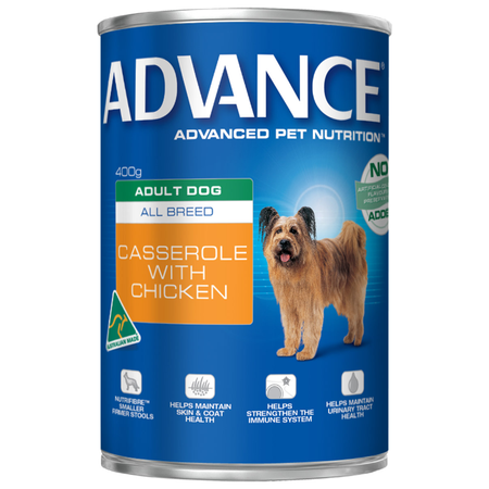 Advance Adult All Breed Casserole with Chicken Canned Dog Food  410gm