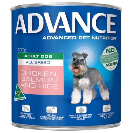 Advance Adult All Breed Chicken, Salmon and Rice Canned Dog Food  700gm