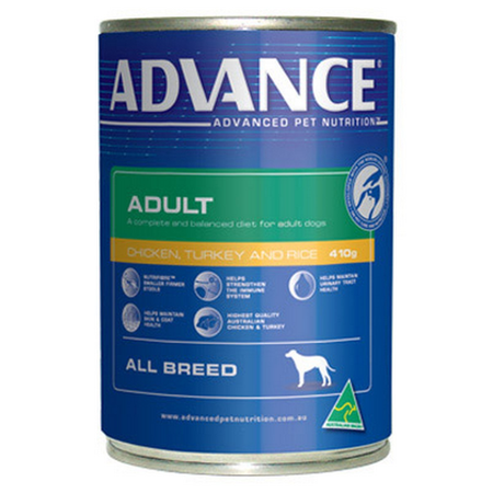 Advance Adult All Breed Chicken, Turkey and Rice Canned Dog Food  410gm