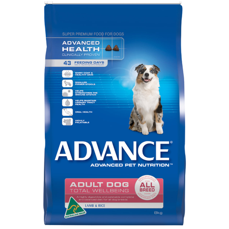 Advance Adult All Breed Lamb and Rice Dry Dog Food  8kg