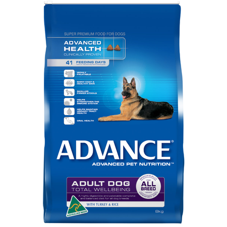 Advance Adult All Breed Turkey and Rice Dry Dog Food  8kg