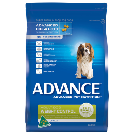 Advance Adult Small Breed Weight Control Chicken Dry Dog Food  2.5kg