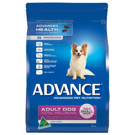 Advance Adult Toy and Small Breed Lamb and Rice Dry Dog Food  3kg