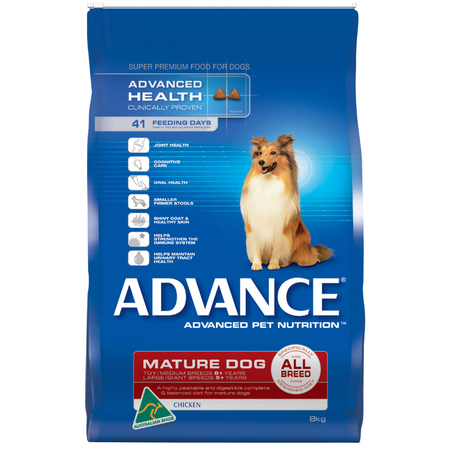 Advance Mature All Breed Chicken Dry Dog Food  8kg