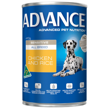 Advance Sensitive Adult All Breed Chicken and Rice Canned Dog Food  410gm