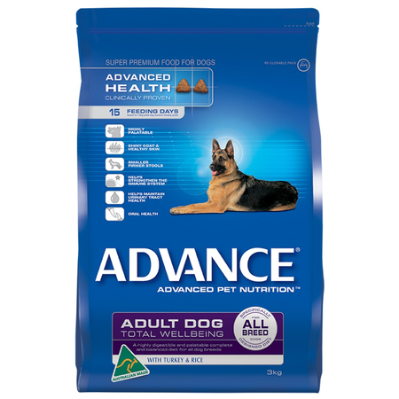 Advance Total Wellbeing All Breed Turkey & Rice - 3kg - Dry Dog Food