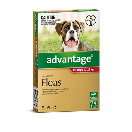 Advantage Flea Treatment for Dogs 10kg-25kg   4pk