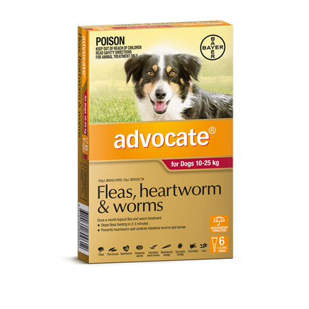 Advocate Flea and Worm Treatment for Dogs 10kg-25kg  6pk