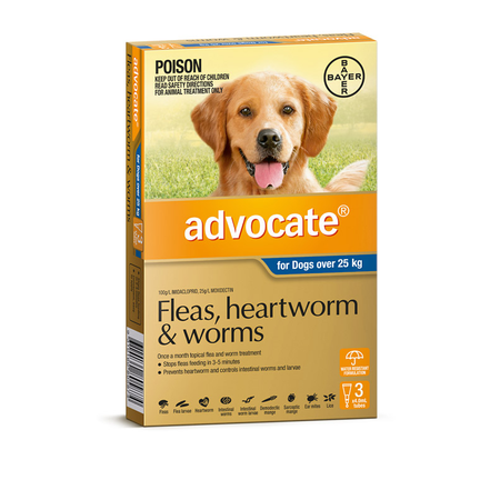 Advocate Flea and Worm Treatment for Dogs 25kg+   3pk