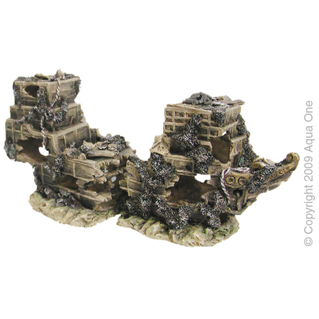 Aqua One 2 Piece Shipwreck Aquarium Ornament  Medium (43x21cm)