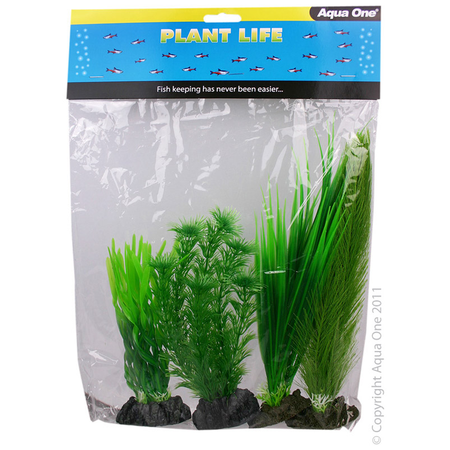 Aqua One Plastic Plant 4pk - Mix 4