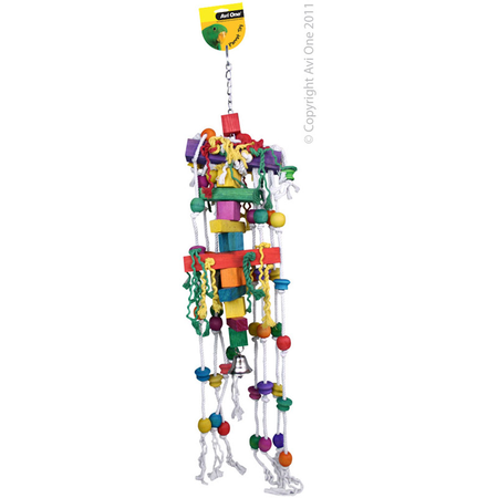 Avi One Coloured Wood Jumbo Parrot Toy Rope, Solid Block, beads, bell - 108cm long
