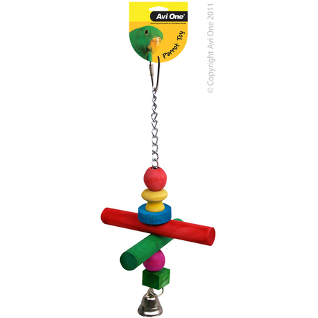 Avi One Coloured Wood Parrot Toy Chain, perch, beads & bell - 26cm long