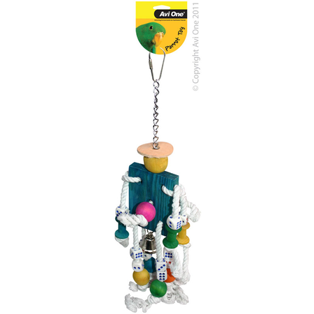 Avi One Coloured Wood Parrot Toy Rope, Mr Robot, dice, bell - 40cm long