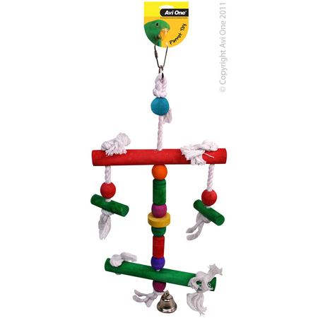 Avi One Coloured Wood Parrot Toy Rope, Two Level Perch, Bell - 46cm long