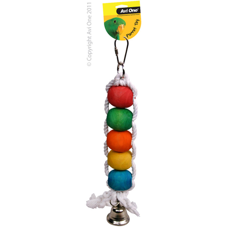 Avi One Coloured Wood Parrot Toy Rope, beads, bell - 30cm long