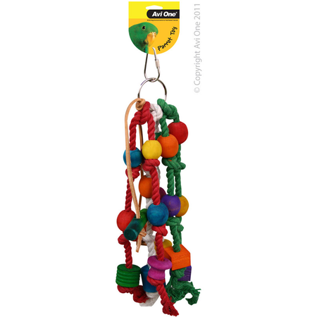 Avi One Coloured Wood Parrot Toy Rope, beads, leather - 28cm long
