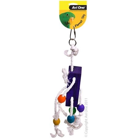 Avi One Coloured Wood Parrot Toy Rope, block, beads - 35cm long