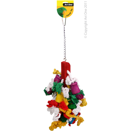 Avi One Coloured Wood Parrot Toy Rope, mop, beads - 43cm long