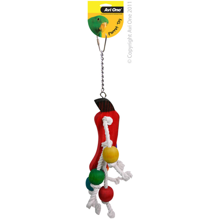 Avi One Coloured Wood Parrot Toy Rope, veggie, beads - 36cm long