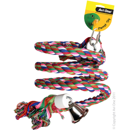 Avi One Parrot Toy Rope Coloured Twister Bell Large