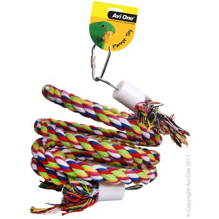 Avi one Coloured Rope Parrot Toy Twister & bell - 40cm L